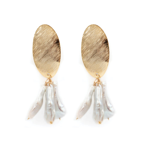 Hazen & Co. Darby Earring, White Stick Pearl
