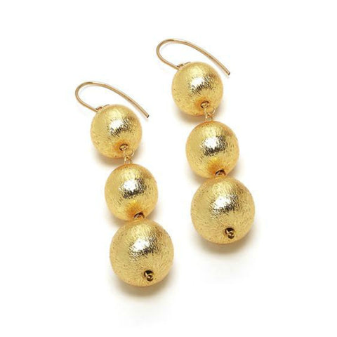 Hazen & Co. Dee Earring, Triple Gold