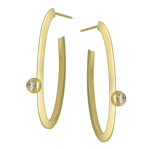 Suzy Landa Oval Hoop Diamond Earring
