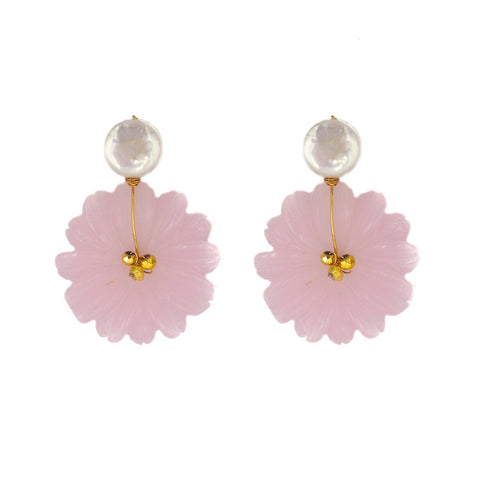Hazen & Co. Maui Earrings, Rose Quartz