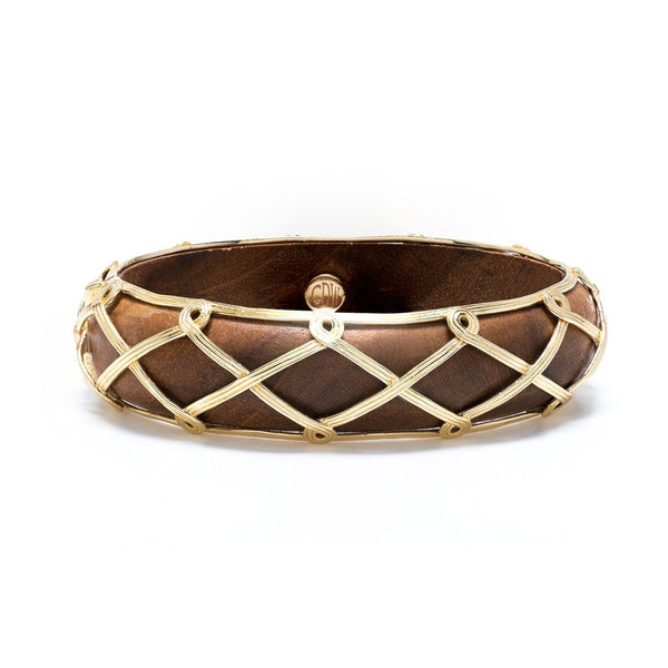 Capucine De Wulf Earth Goddess Hinged Bangle, Teak