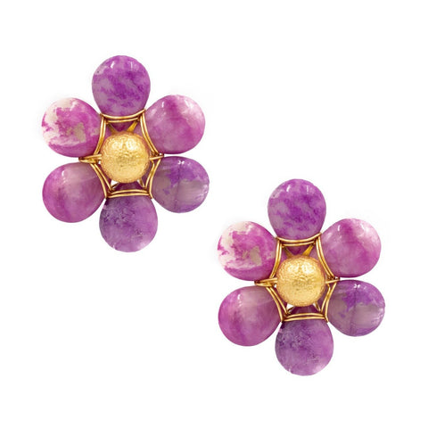 Hazen & Co. Flora Earring, Bright Pink