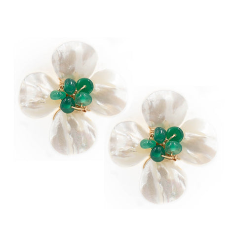 Hazen & Co. Poppy Earring, Emerald Green Onyx