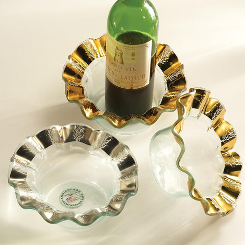 Annieglass Ruffle Wine Coaster/Candle Holder