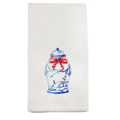 Watercolor Ginger Jar with Red Bow Tea Towel