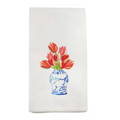 Ginger Jar with Tulips Tea Towel