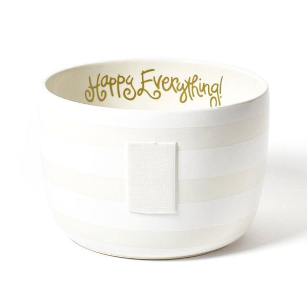 Happy Everything White Stripe Big Bowl