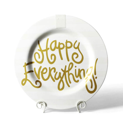 Happy Everything White Stripe Big Happy Everything! Round Platter