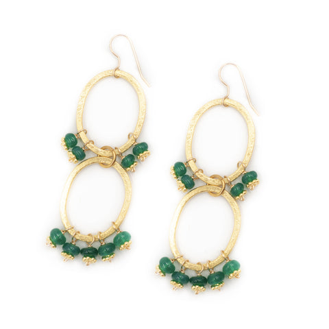 Hazen & Co. Haley Earrings, Emerald