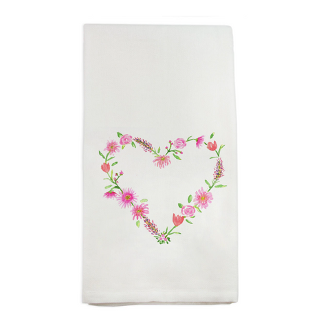 Floral Heart Tea Towel