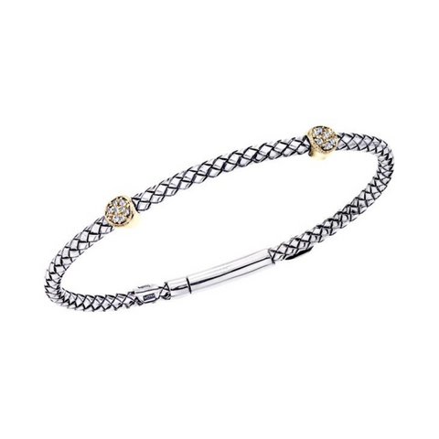 Alisa 925 Sterling Silver thin Traversa bangle with .07ct diamond & 18K gold stations