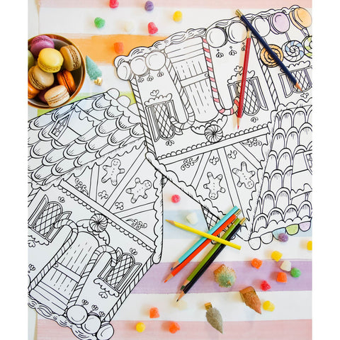 Hester and Cook Die Cut Gingerbread House Coloring Placemat