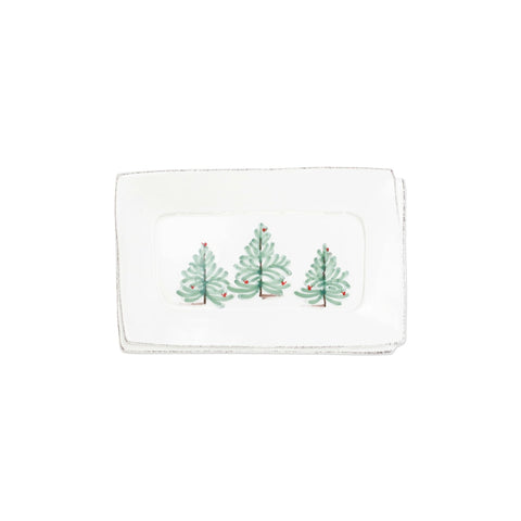 Vietri Lastra Holiday Small Rectangular Tray
