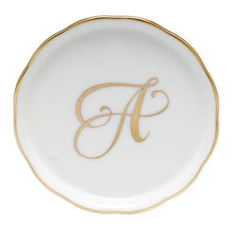 Herend Monogram Ring Dish, Gold