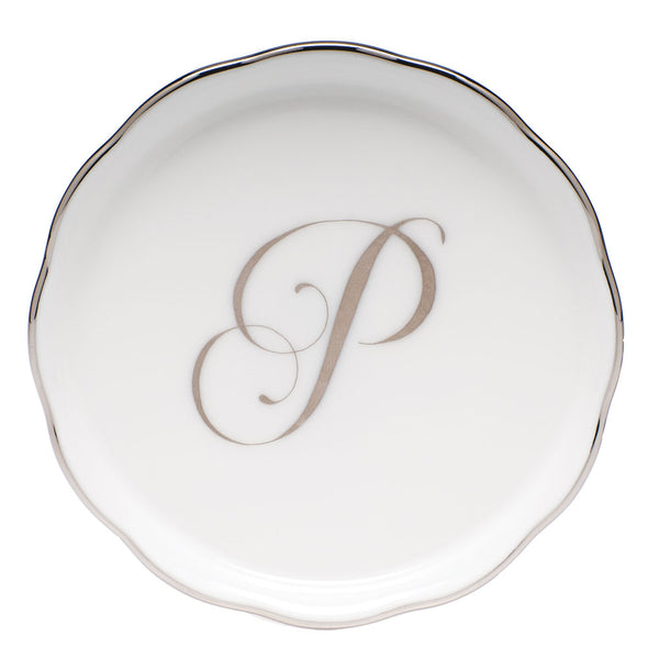 Herend Monogram Ring Dish, Platinum
