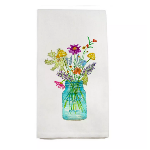 Wildflowers in Mason Jar Tea Towel