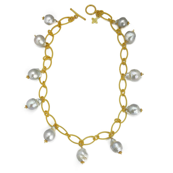 Hazen & Co. Mimosa Necklace, Gray Baroque