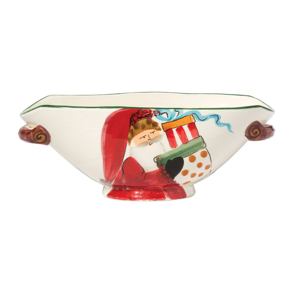Vietri Old St. Nick Handled Oval Bowl w/ Presents