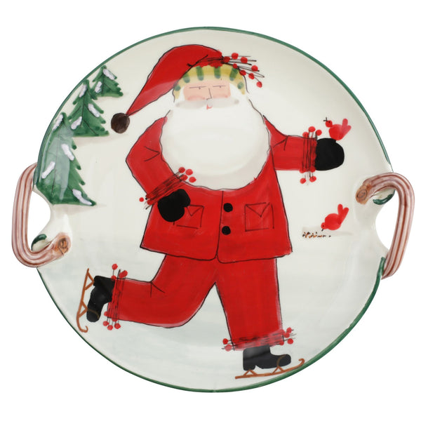 Vietri Old St. Nick Handled Round Platter - Ice Skating