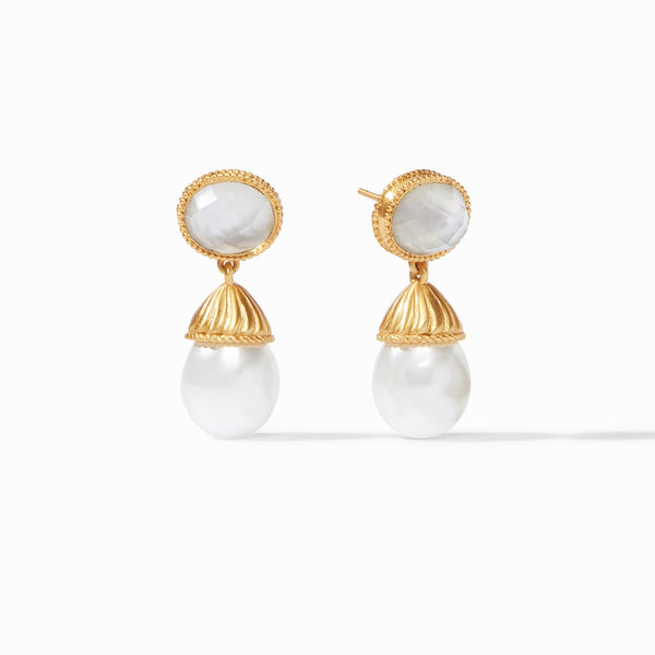 Julie Vos Olympia Pearl Earring, Iridescent Clear Crystal
