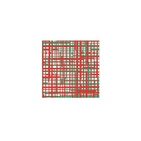 Papersoft Napkin Plaid Green & Red Cocktail Napkins (Pack 20)