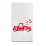 Red Truck with Balloons Tea Towel