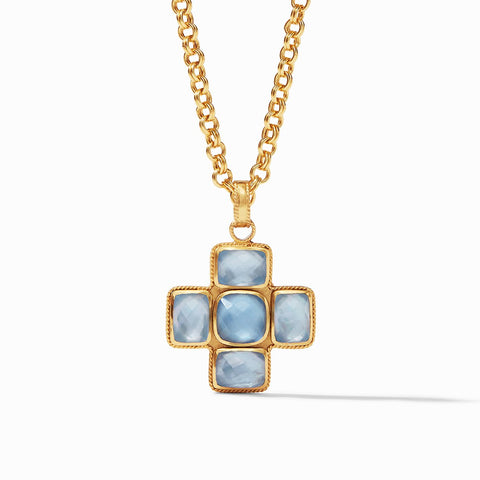 Julie Vos Savoy Pendant, Iridescent Chalcedony Blue