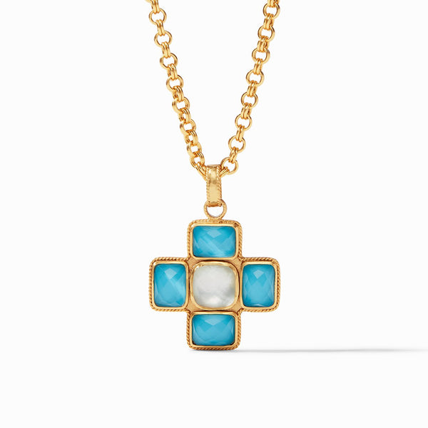 Julie Vos Savoy Pendant, Iridescent Pacific Blue and Iridescent Clear Crystal