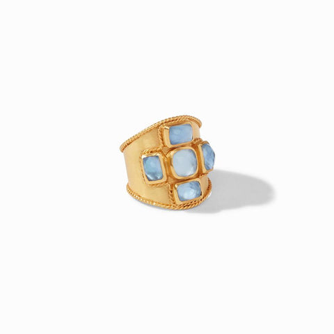 Julie Vos Savoy Statement Ring, Chalcedony Blue, Size 8