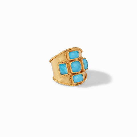 Julie Vos Savoy Statement Ring, Iridescent Pacific Blue, Size 7