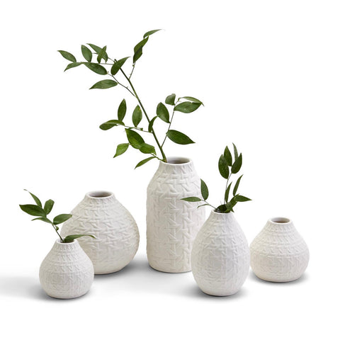 Embossed Cane Pattern Vases, White