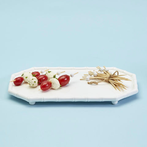 Hampton Faux Bamboo Fretwork Serving Platter with 20 Bamboo Picks