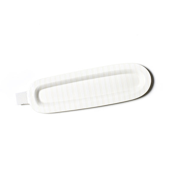 Happy Everything White Stripe Mini Entertaining Skinny Oval Platter
