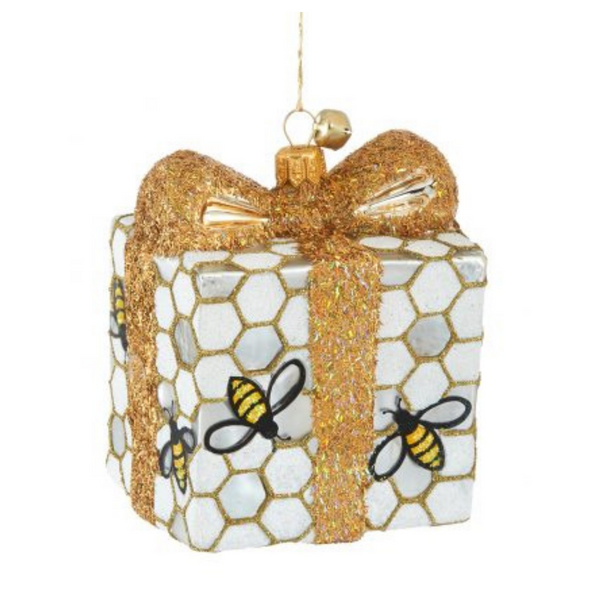 JingleNog Bee Present Ornament