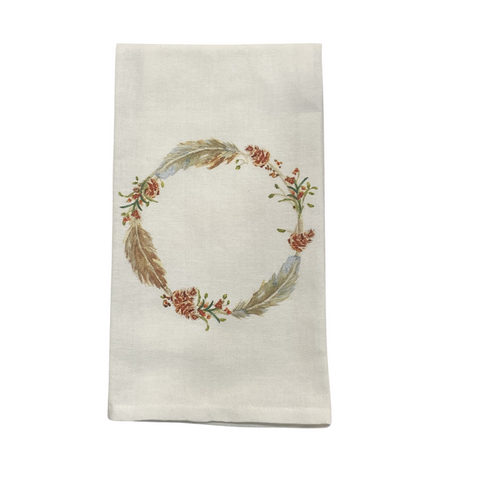 Fall Feather Wreath Tea Towel