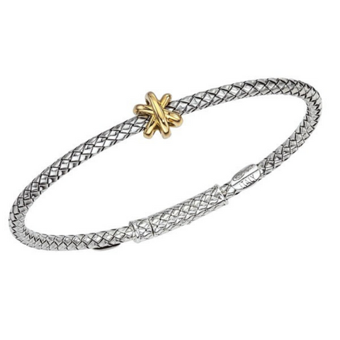 Alisa 925 Sterling Silver thin Traversa bracelet with 3 dimensional star ornament