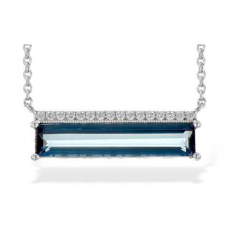 14K WG London Blue Topaz and Diamond Bar Pendant, 2.70BTPZ .10DIA.