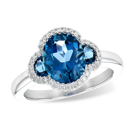 14K WG London Blue Topaz and Diamond Ring  3.04BTPZ .16DIA