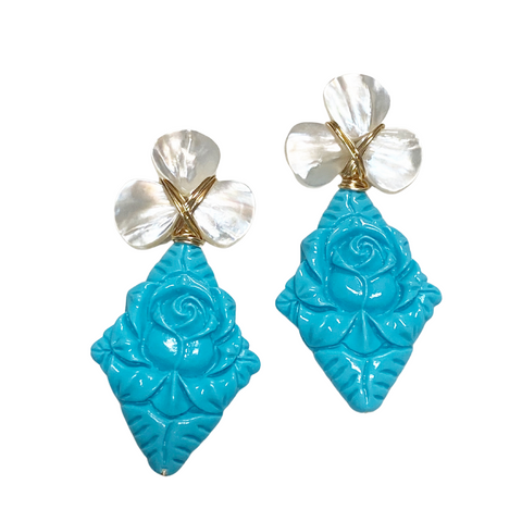 Hazen & Co. Turquoise Carved Earring