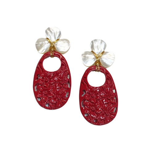 Hazen & Co. Red Carved Earring
