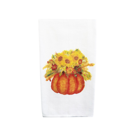 Pumpkin with Fall Flowers Tea Towel