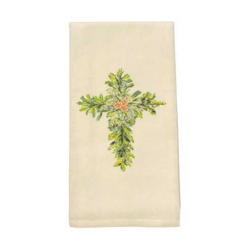 Watercolor Christmas Cross Tea Towel