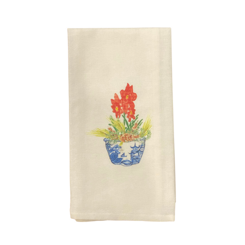 Watercolor Blue and White Bowl with Christmas Flower Tea Towel