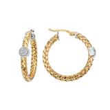 Alisa Basket Weave and Diamond Hoop Earring