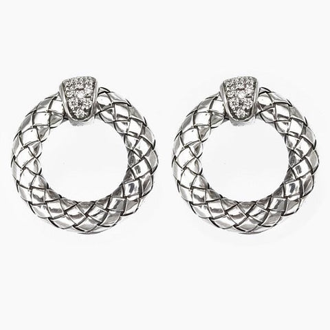 Alisa 925 SS Traversa & shiny round link earrings, .18 ct tw dias