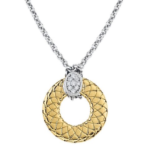 Alisa 18K & 925 SS flat Traversa circle necklace with chain, .14ct tw dias