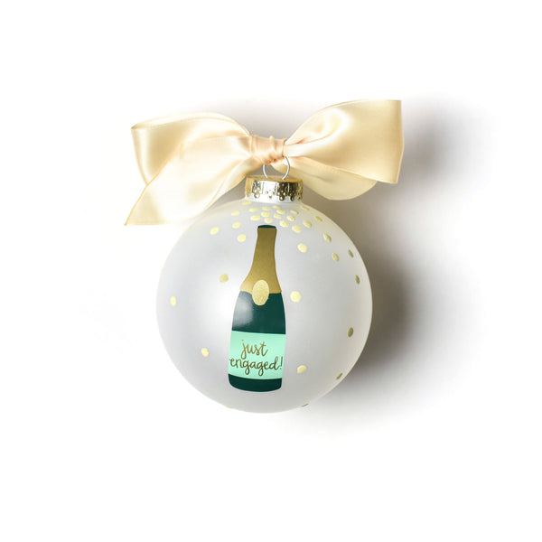 Coton Colors Just Engaged Champagne Pop Glass Ornament