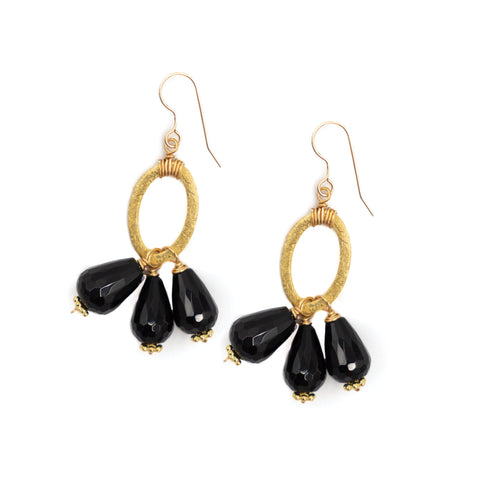 Hazen & Co. Amesbury Earrings, Black Onyx, Small