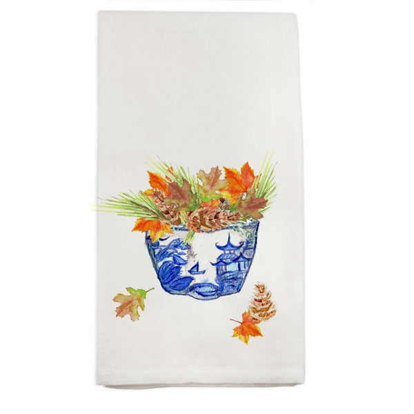 Blue and White Bowl with Fall Leaves Tea Towel