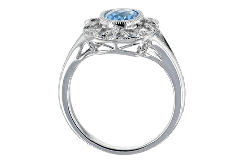 14K WG Blue Topaz and Diamond Ring